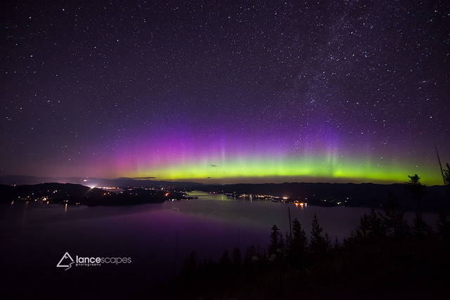 Aurora over Lake Pend Oreille
