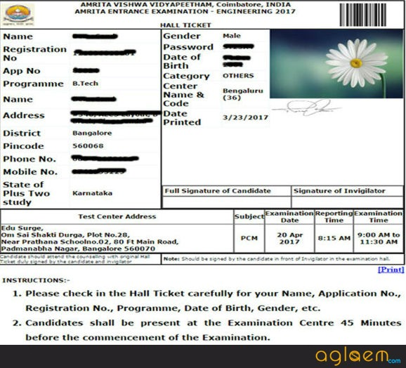 AEEE Admit Card