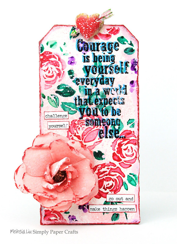Meihsia Liu Simply Paper Crafts Mixed Media Tag Corage Rose Stencil Simon Says Stamp Tim Holtz 1