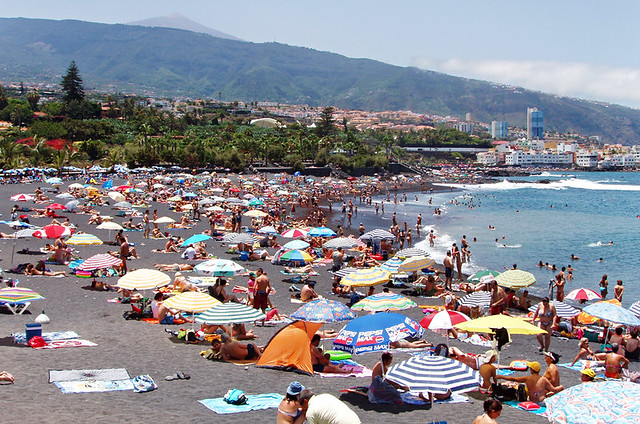 Playa Jardin in summer, Puerto de la Cruz, Tenerife