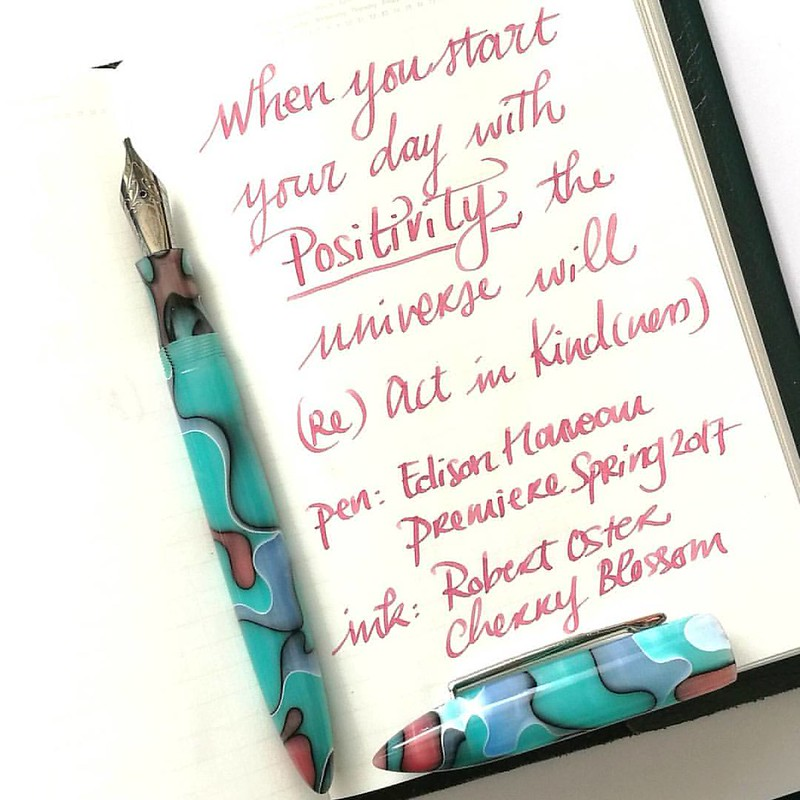 Prompt 15 of #rockyourhandwriting is #actsofkindness and this is something I truely believe. Pen: Edison Nouveau Premiere Seaglass Spring 2017 from @gouletpens  Ink: @robertostersignature Cherry Blossom  Paper: @stalogy A6 365 journal . . . #FPN #fountain