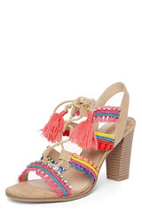 Dorothy Perkins pink, orange & red pom pom tassel heeled sandals