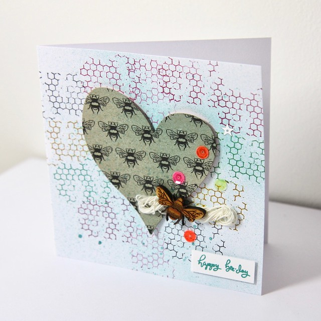 Mixed Media Bee Garden Cards - ink spritzed honeycomb bee card