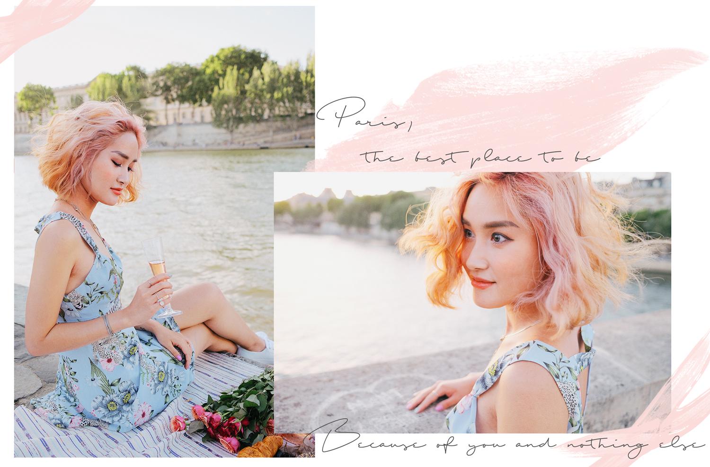 Miu in H&M floral dress