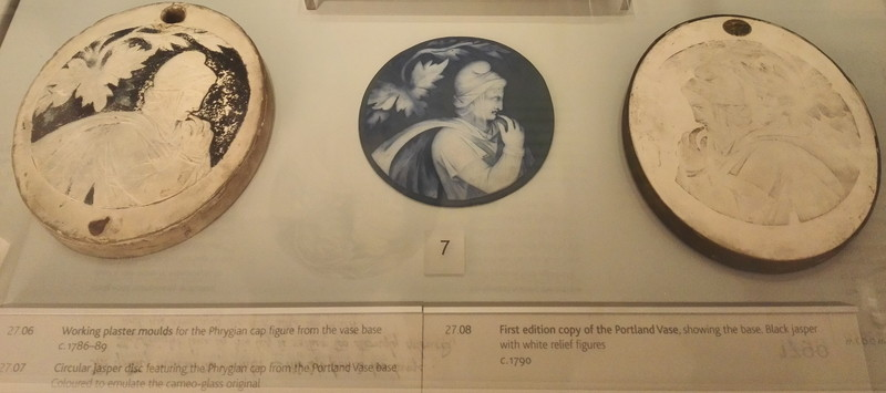 Cameo glass disc with the head of a young man in WEDGWOOD MUSEUM