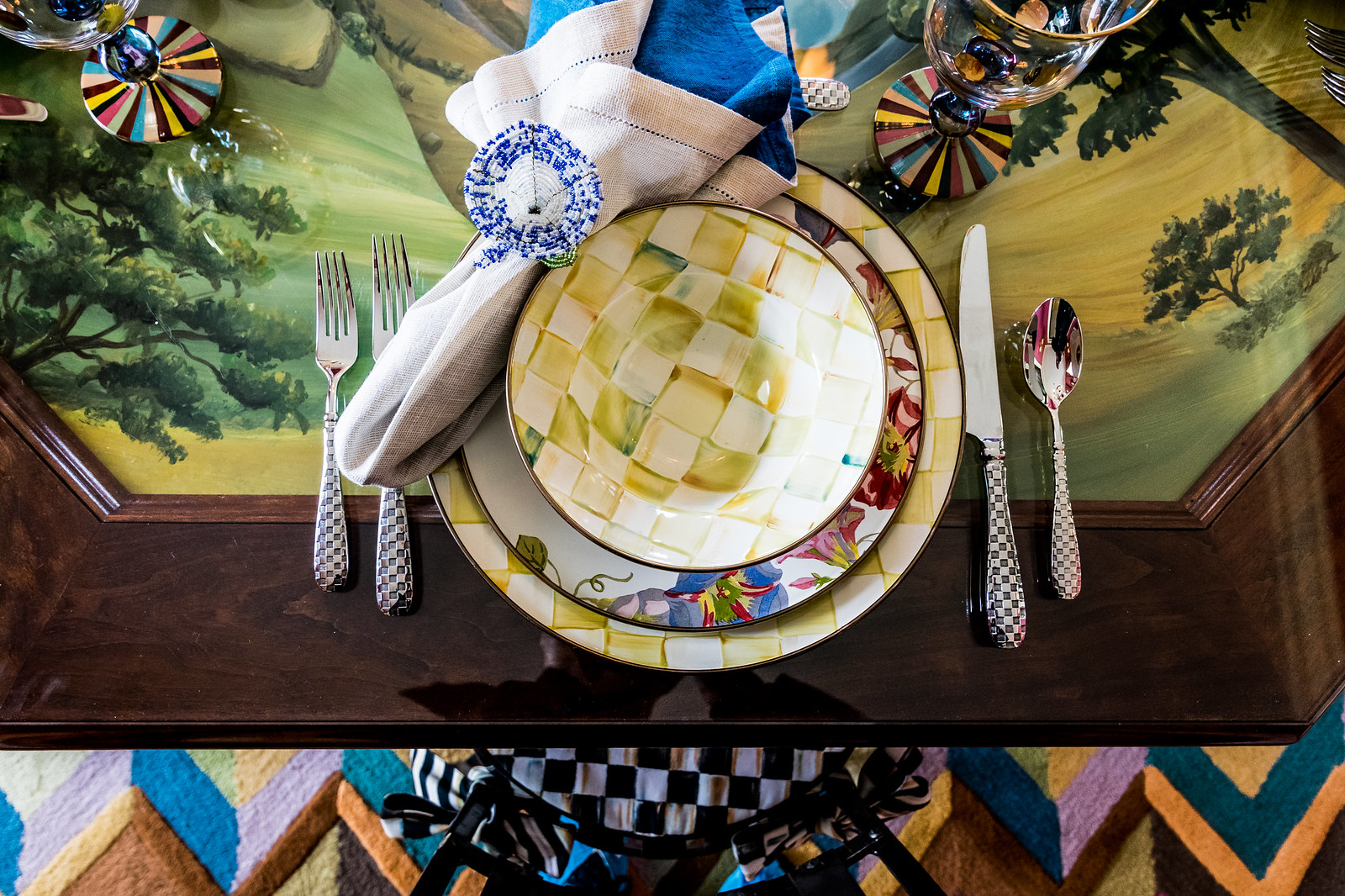 even the table is a hand-painted work of art