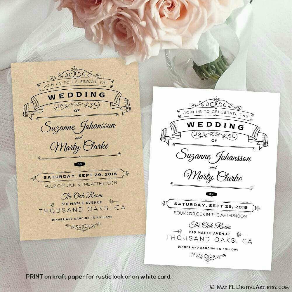 Wedding invitation - print on kraft paper for rustic look … | Flickr