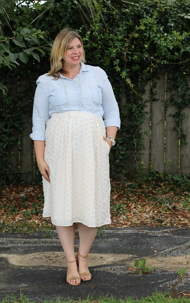chambray shirt, cream dot midi and wedge sandals 4