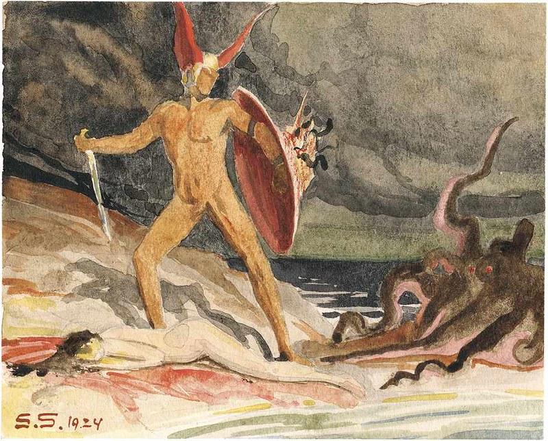 Sascha Schneider - Perseus and Andromeda, 1924