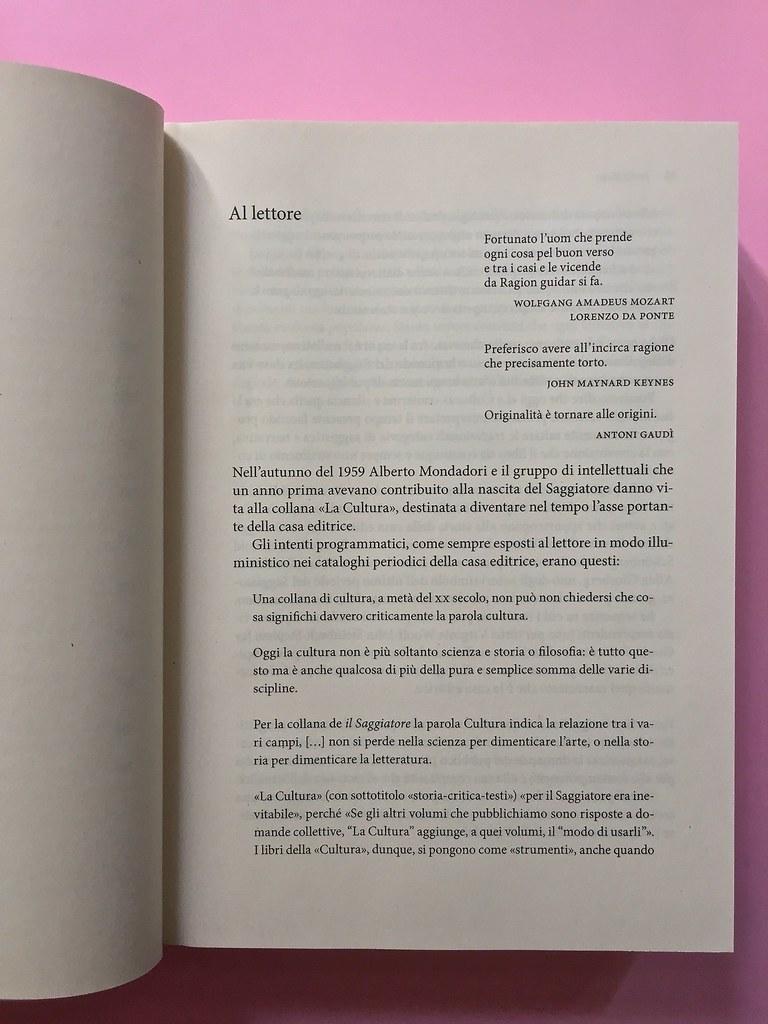 La Cultura, il Saggiatore, Milano 2016. Premessa al testo [pag. 15] (part.), 1