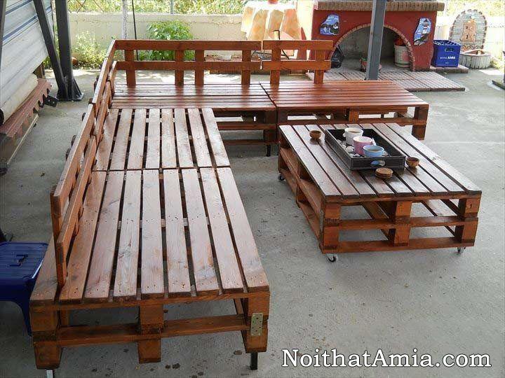 Hinh anh bo ban ghe go sofa co banh xe di dong duoc lam handmade