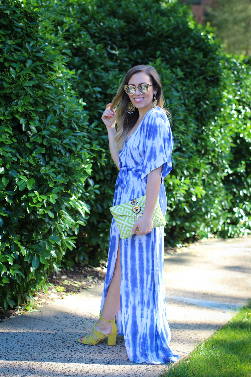 Lulus Blue Tie-Dye Wrap Maxi Dress Outdoor Summer Party Style Jackie Giardina Style Blogger