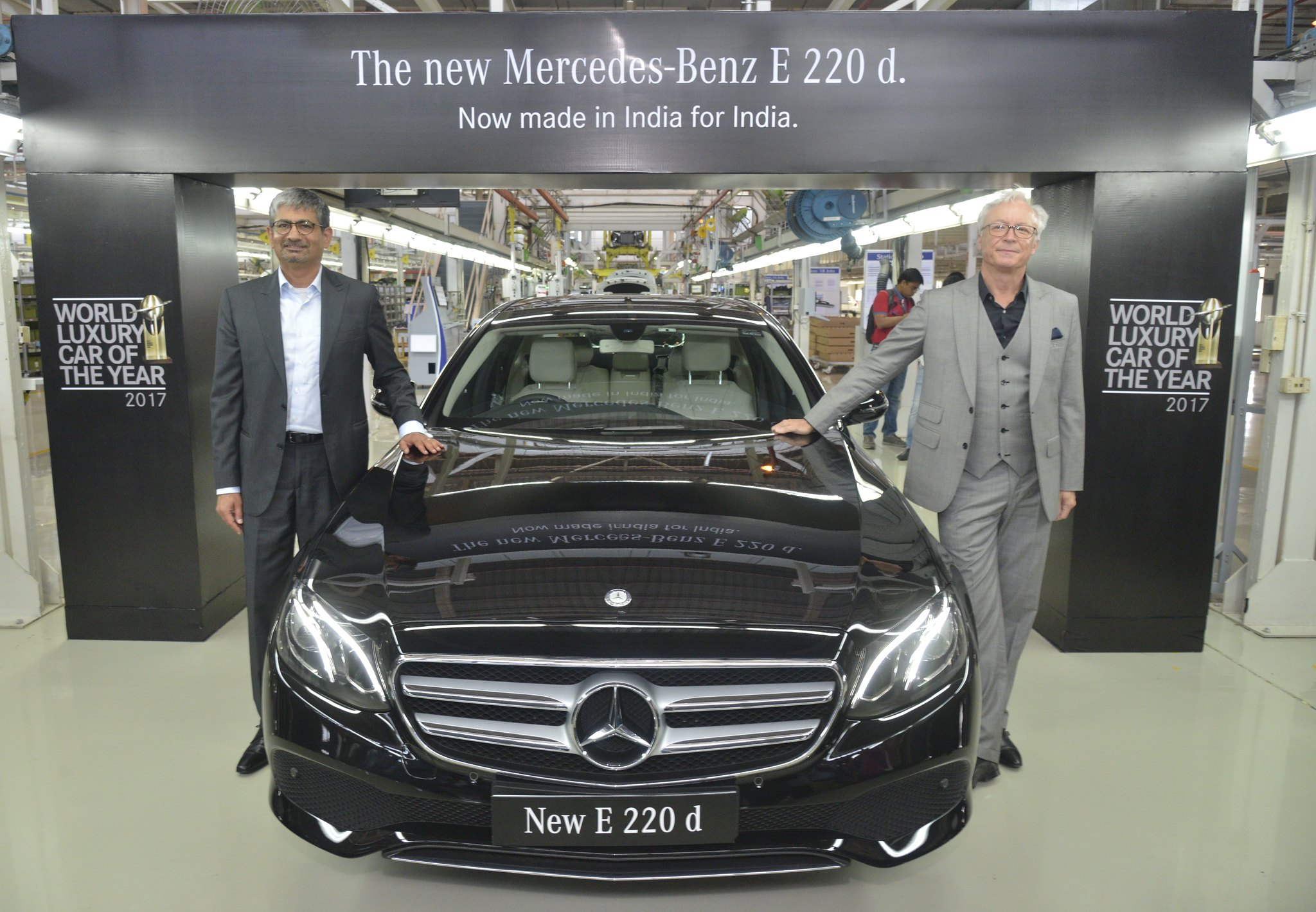 Photo 3 L-R Mr. Roland Folger, MD & CEO, Mercedes-Benz and Mr. Piyush Arora, Executive Director-Operations, Mercedes-Benz India  at the roll out of the all new E-Class 220 d in Chakan near Pune