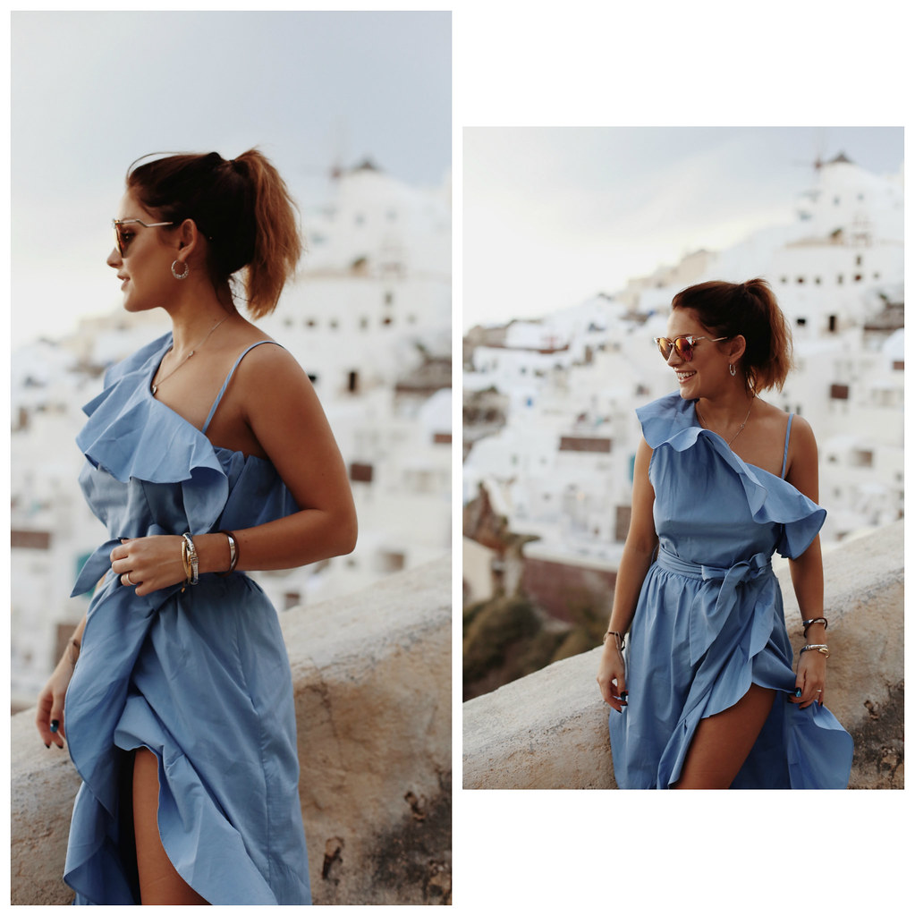 The Little Magpie Sandro Blue Dress Santorini