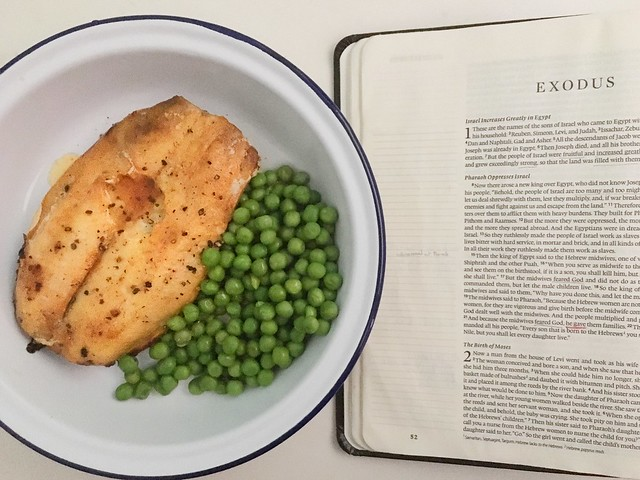 Kippers and peas + Exodus = breakfast