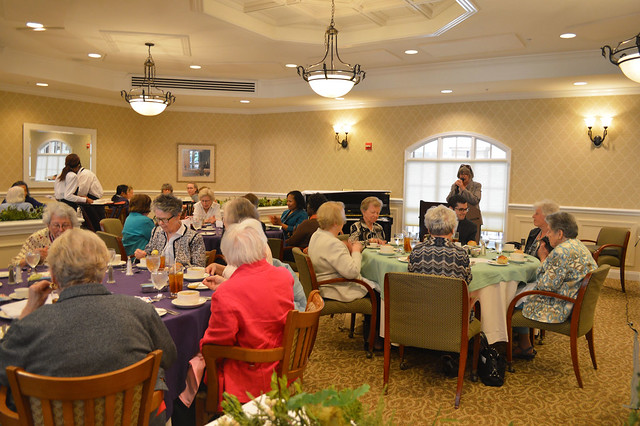 GenMtgMayLunch2017_0003; President Kathy Hutchins gives her annual report.