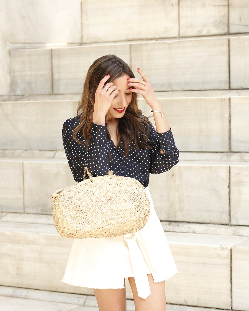 Polka dot shirt white denim skirt jewel flats wricked bag outfit style09