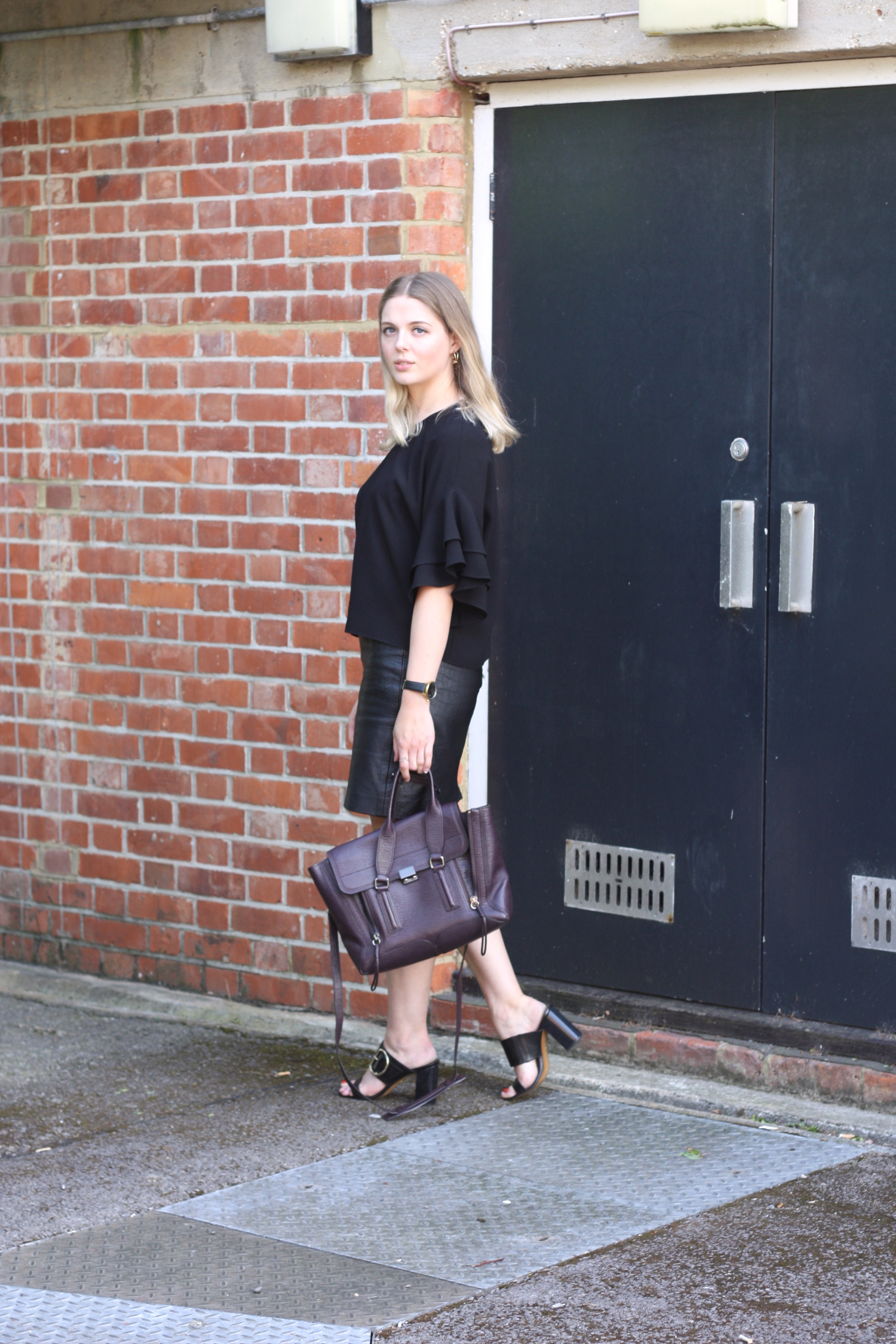3.1 Phillip Lim Pashli medium bag, Whistles Fairhope buckle sandals and Zara black frilled top
