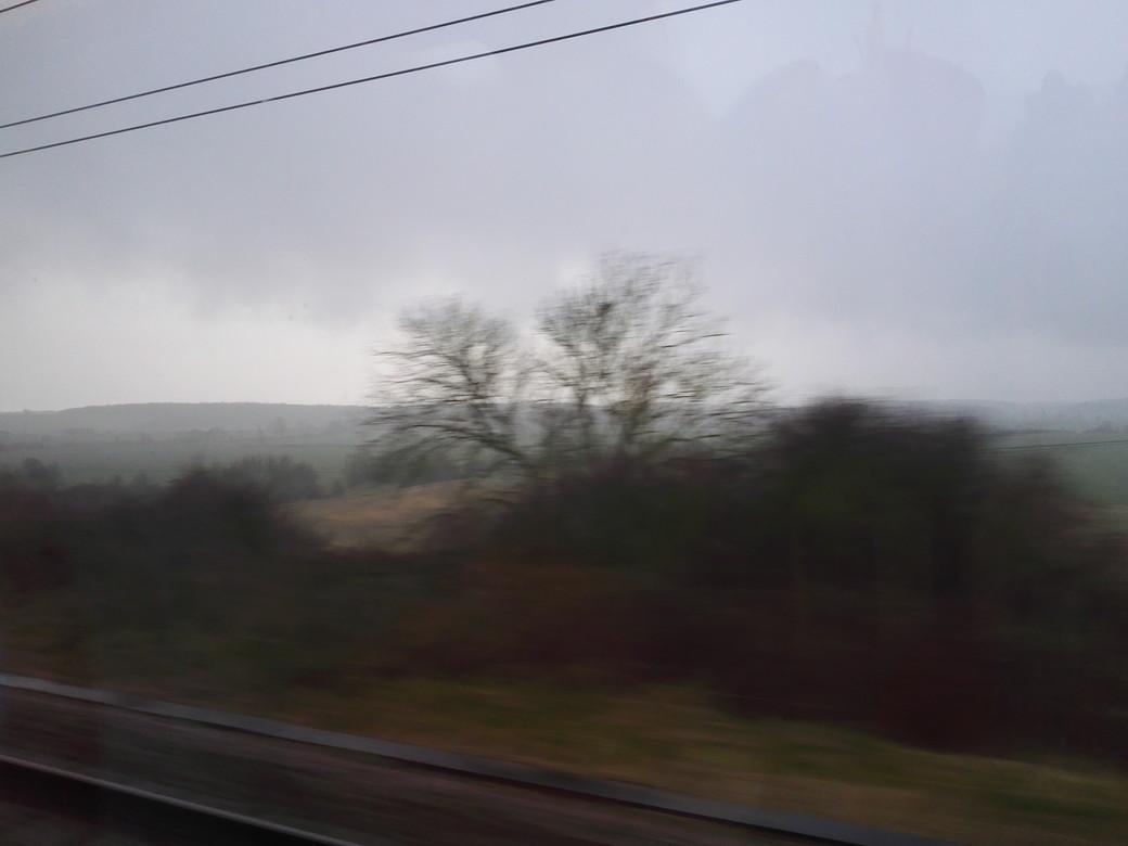 英国らしく曇天の車窓風景