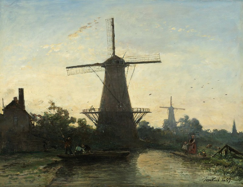 Johan Barthold Jongkind - Molens bij Rotterdam