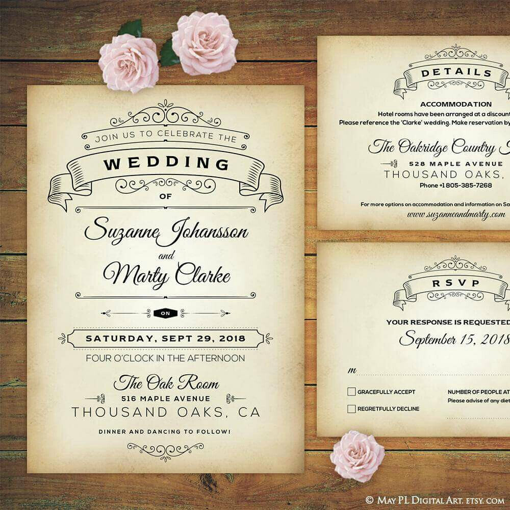 Cute ornate style rustic wedding invitation, details and r… | Flickr