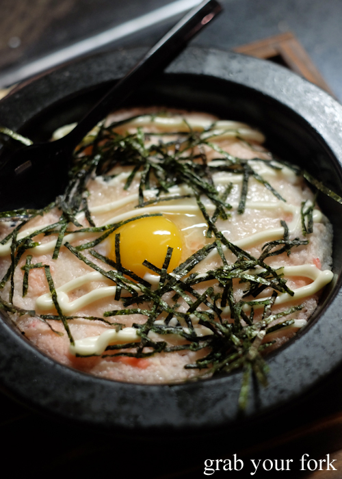 Tororo yaki grated mountain yam with cuttlefish and raw egg yolk at Yakitori Jin Japanese restaurant in Haberfield Sydney
