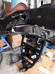 Tubular lower control arm on a 1963 Chevy C10