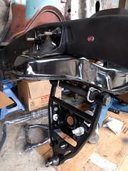 Tubular lower control arm on a 1963 Chevy C10