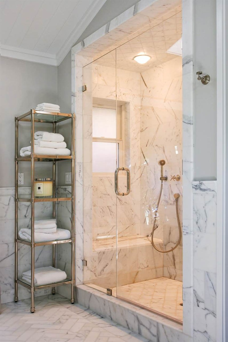 The 15 Best Tiled Bathrooms on Pinterest White Marble Walk in Shower Gold Hardware