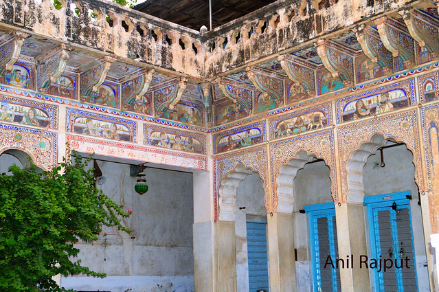 Inner walls Fresco paintings , courtyard Haveli in Churu