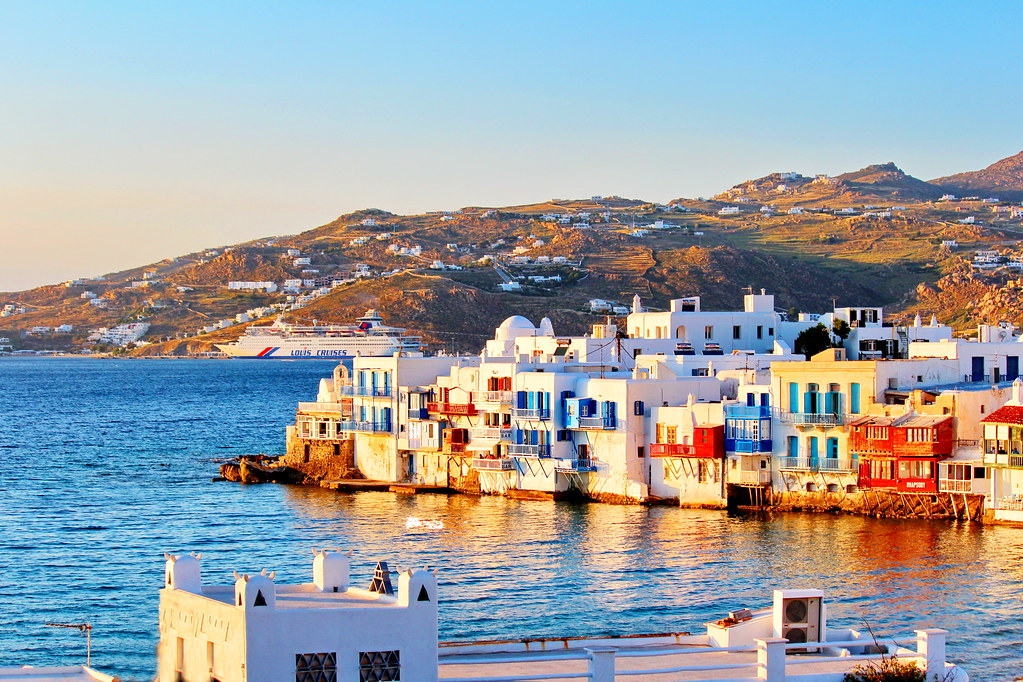 "A golden moment in ""Little Venice"", Mykonos"