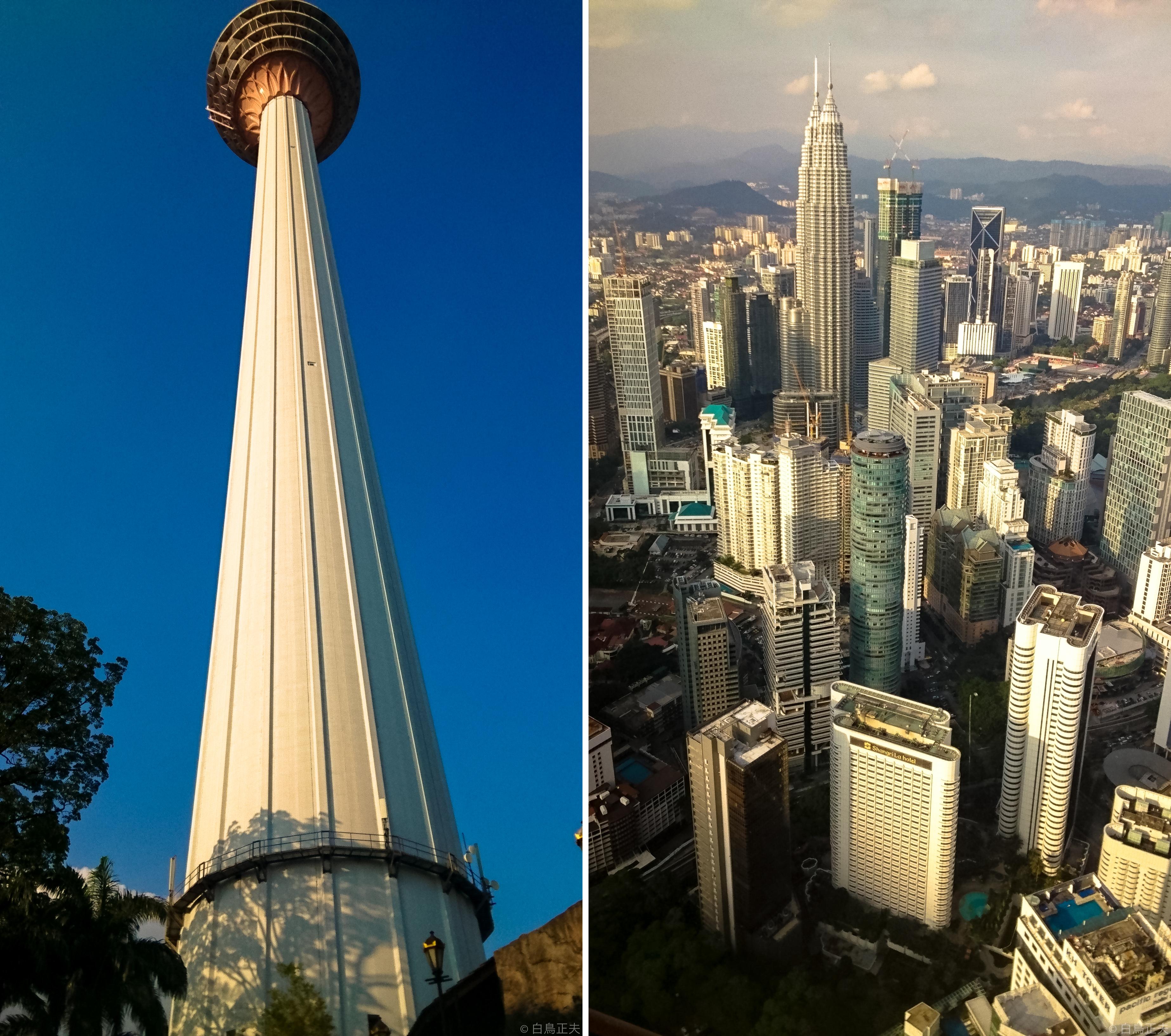 左)高さは421メートルのKLタワー 右)展望台からの眺望