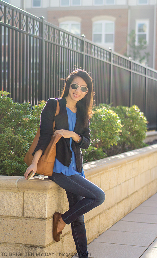 navy tweed jacket, bright blue pleated top, skinny jeans, cognac brown tote, brown loafers