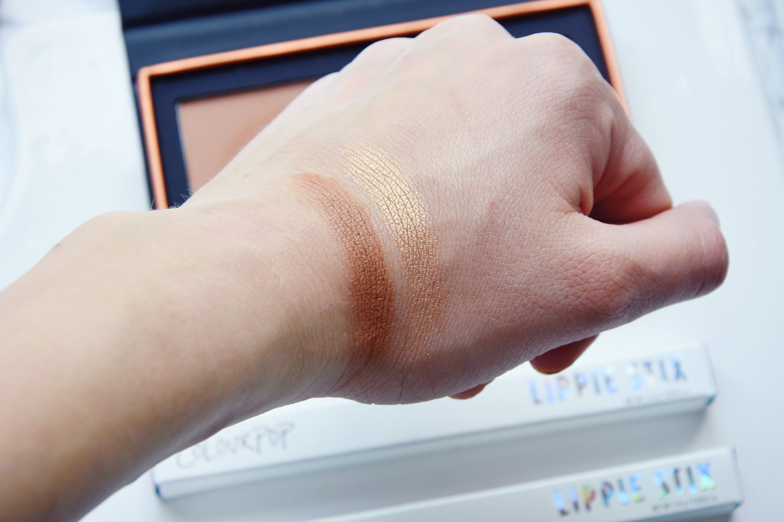 ColourPop Alexis Ren bronzer highlighter swatches