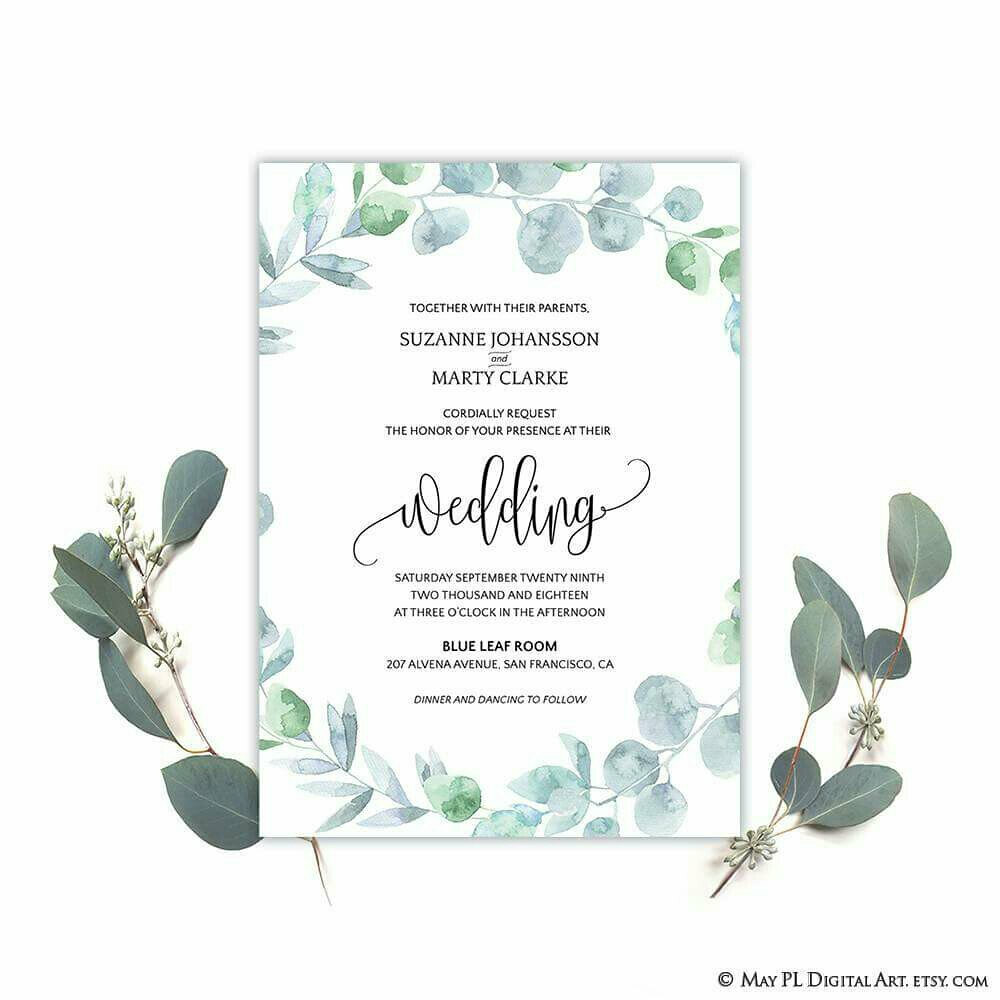 NEW watercolor eucalyptus wreath wedding invitation templa… | Flickr
