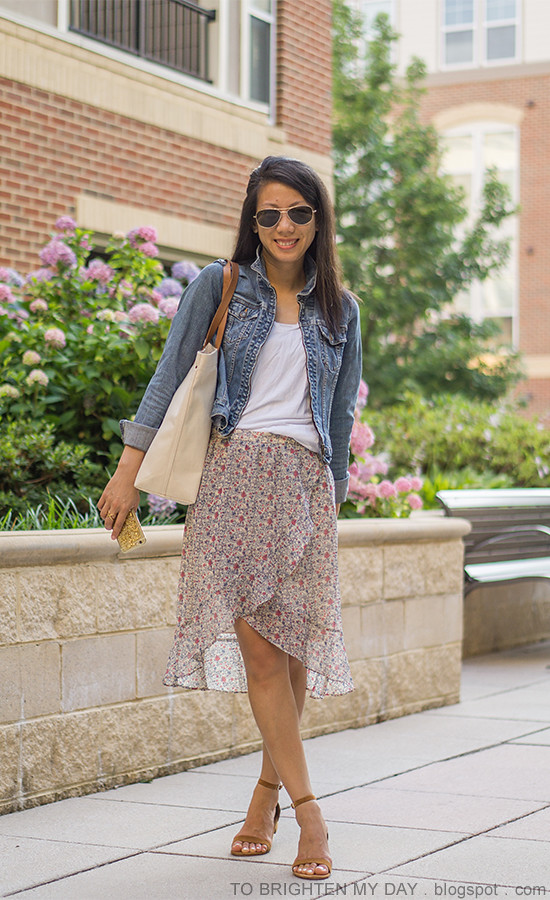 denim jacket, white tee, floral wrap skirt, canvas tote, brown suede sandals