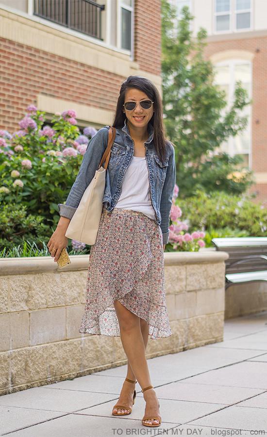 denim jacket, white tee, floral wrap skirt, canvas tote, brown suede sandals