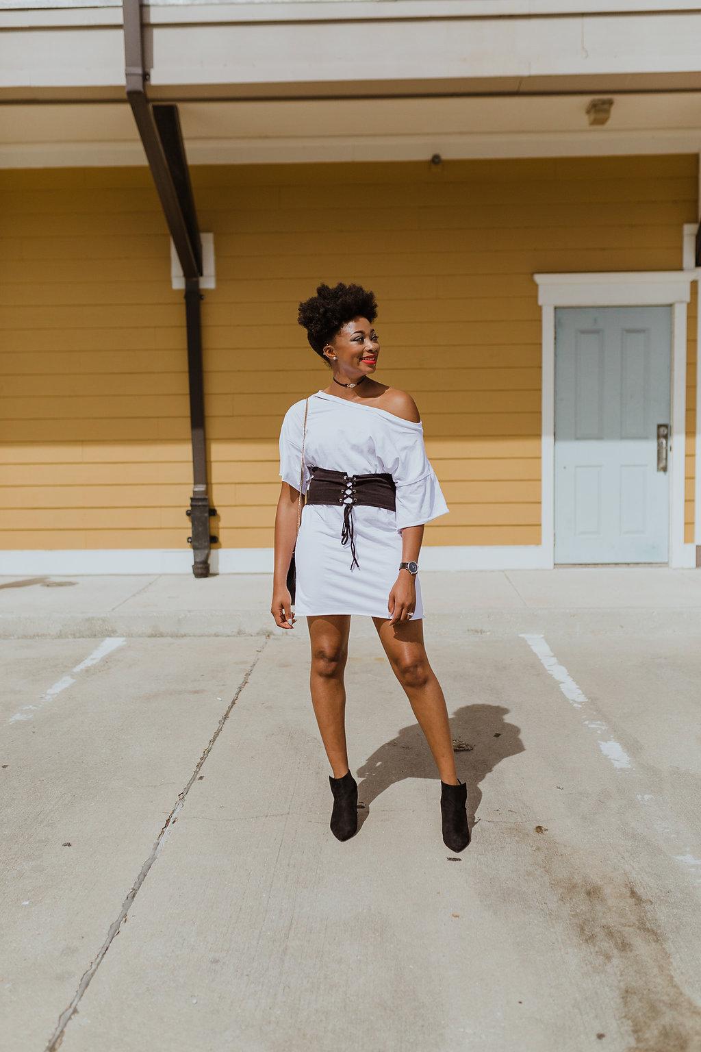 how to wear a corset t-shirt dress