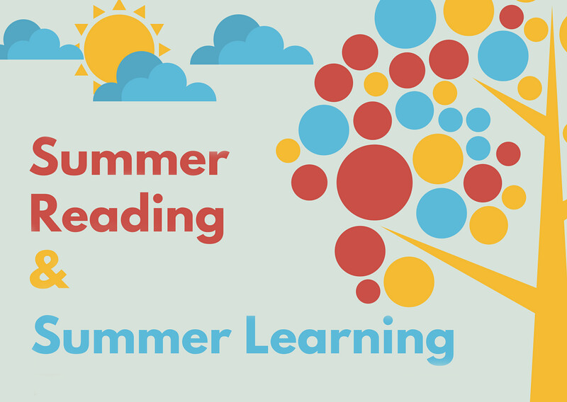 Vector drawing of tree and clouds with text 'Summer Reading & Summer Learning'