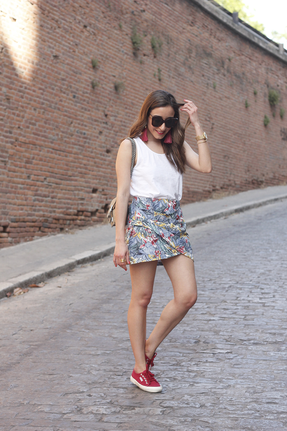 Tropical Skirt gucci bag superga outfit style summer02