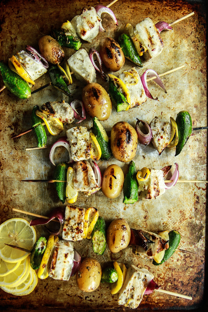 Grilled Swordfish Skewers from Heatherchristo.com