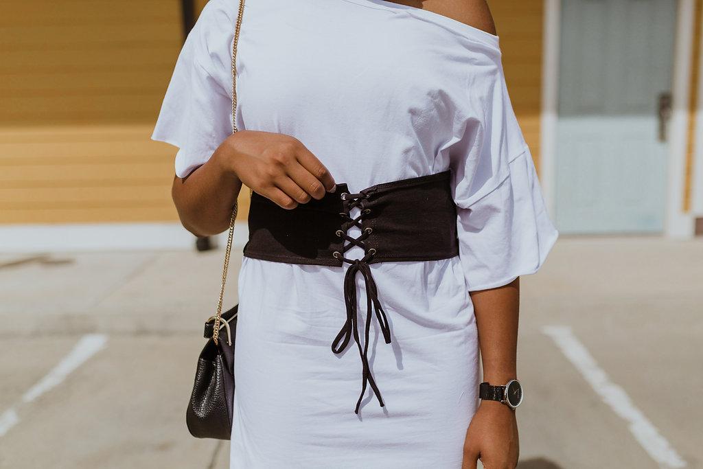 corset t-shirt dress, barbas & zacari watch