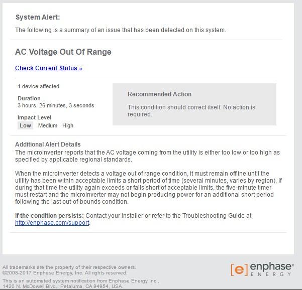 Enphase Alert Screenshot