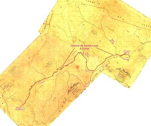 Carte extraite du Cadastre Napoléon avec la rive gauche du Fincione et l'ancien Chemin de Sainte-Lucie à Zonza