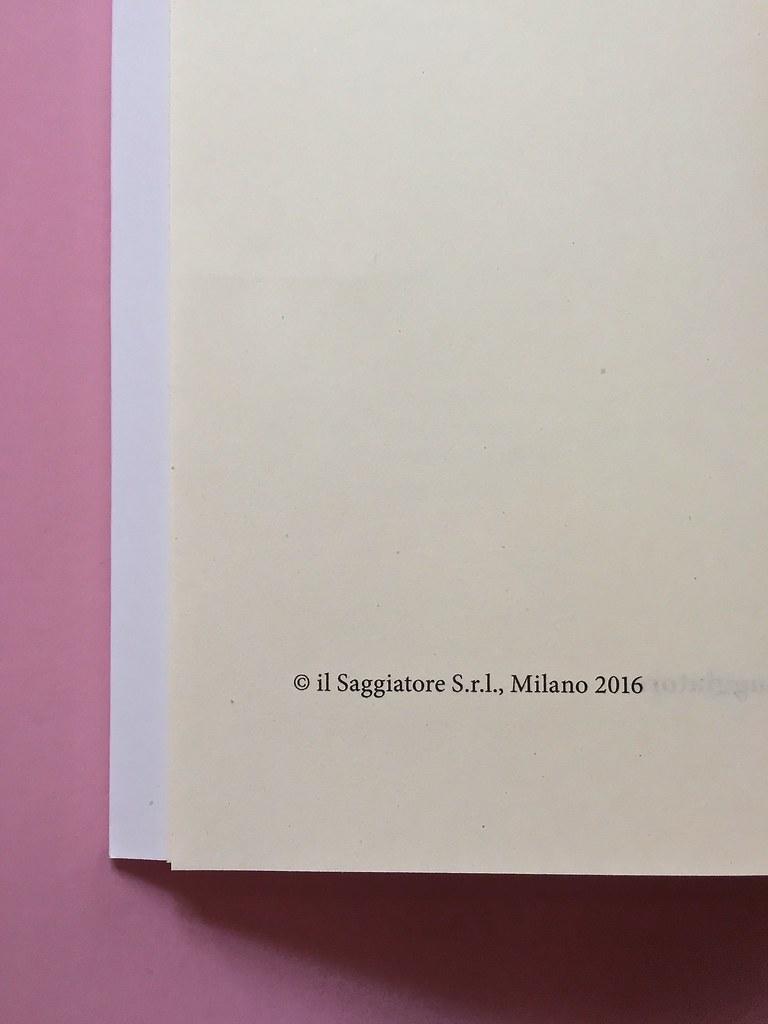 La Cultura, il Saggiatore, Milano 2016. Colophon [ pag. 4] (part.), 1