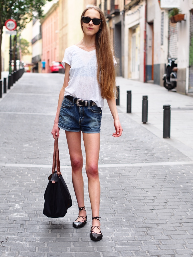 Elevating a white t-shirt and denim shorts