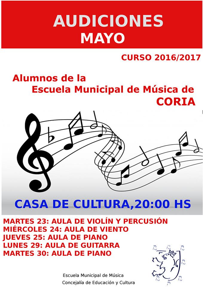 Audiciones de Mayo de la Escuela Municipal de Música de Coria