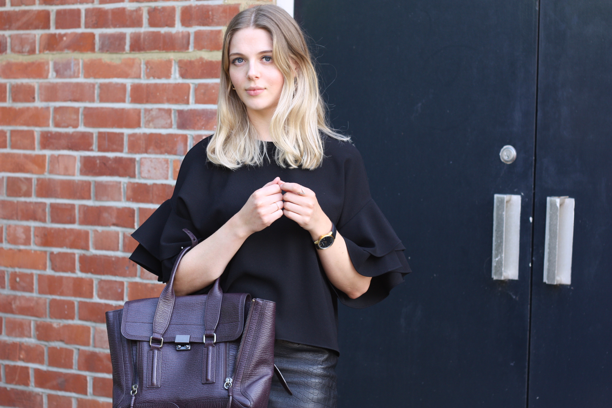 Zara frilled top, 3.1 Phillip Lim Pashli medium burgundy bag and Larsson & Jennings Saxon black gold watch