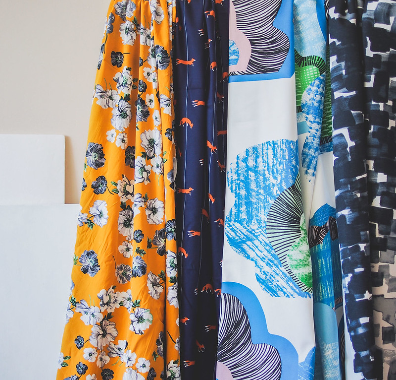 Colourful fabric prints