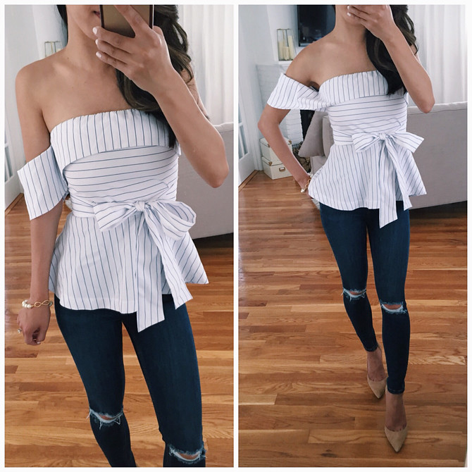off shoulder top jeans going out outfit